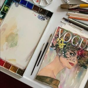 Original Watercolor Vintage Vogue Cover